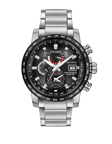 Citizen Radio Controlled Atomic Timekeeping World Time A-T Silvertone Stainless Steel Watch-SILVER-One Size
