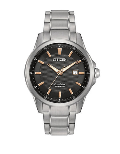 Citizen Analog Ti+IP Silvertone Titanium Watch-SILVER-One Size