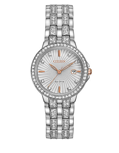 Citizen Analog Silhouette Crystal Silvertone Bracelet Watch-SILVER-One Size