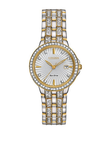 Citizen Silhouette Swarovski Crystal Two-Tone Stainless Steel Link Bracelet Watch-CRISTAL-One Size