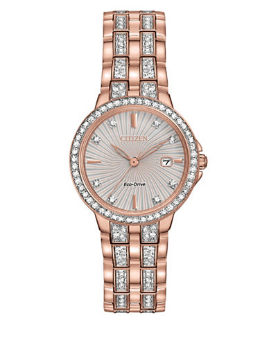 Citizen Analog Silhouette Crystal Pink Goldtone Watch-ROSE GOLD-One Size