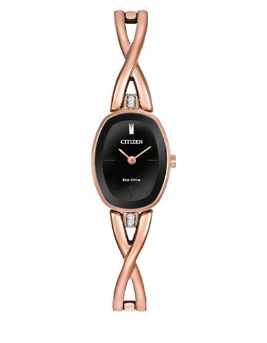 Citizen Eco-Drive Rose Goldtone Bangle Watch with Crystal-PINK-One Size