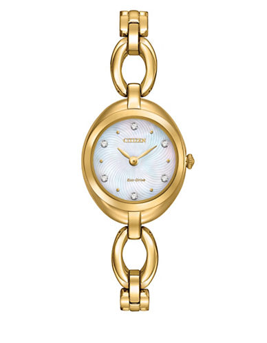Citizen Eco-Drive Goldtone Bangle Watch with Crystal-GOLD-One Size