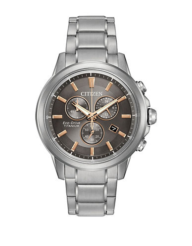 Citizen Chronograph Ti+IP Silverton Titanium Watch-SILVER-One Size