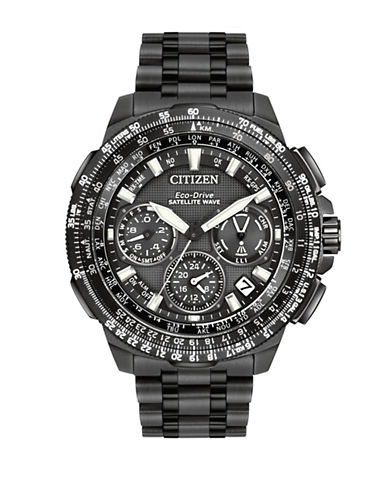 Citizen Eco-Drive Ion-Plated Titanium Promaster Navihawk GPS Watch-BLACK-One Size