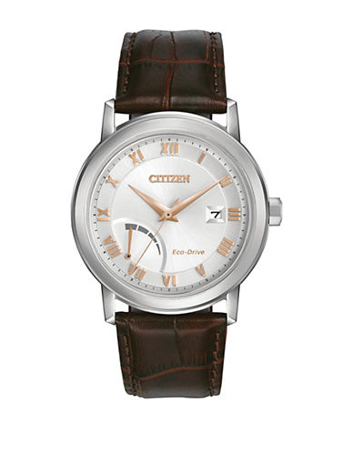 Citizen Quartz Brown Leather Strap Power Reserve Watch-BROWN-One Size