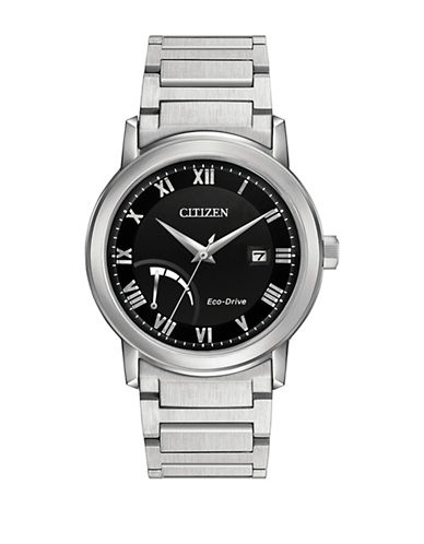 Citizen Quartz Silvertone Bracelet Power Reserve Watch-SILVER-One Size