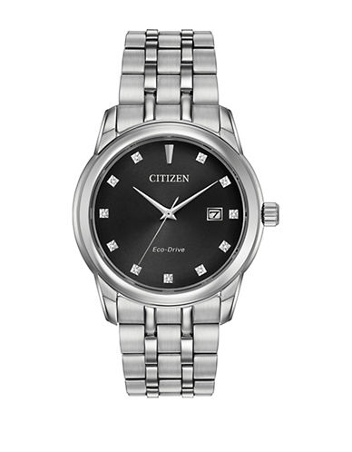 Citizen Quartz Black Dial Diamond Collection Silvertone Bracelet Watch with 0.33 TCW Diamonds-SILVER-One Size
