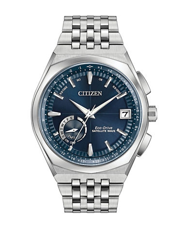 Citizen Quartz Silvertone Satellite Wave World Time GPS Bracelet Watch-SILVER-One Size
