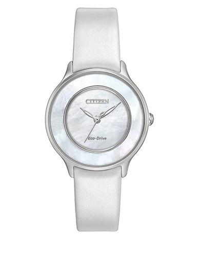 Citizen Quartz White Leather Strap L Circle of Time Watch-WHITE-One Size
