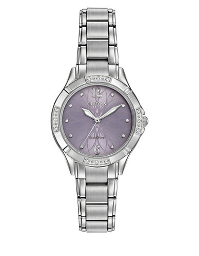 Citizen Quartz Purple Dial Diamond Collection Silvertone Bracelet Watch with 0.36 TCW Diamonds-SILVER-One Size