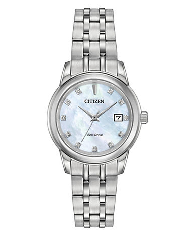 Citizen Quartz Mother-of-Pearl Diamond Collection Silvertone Bracelet Watch with 0.33 TCW Diamonds-SILVER-One Size