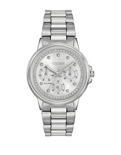 Citizen Quartz Silhouette Swarovski Crystal Silvertone Bracelet Watch-SILVER-One Size