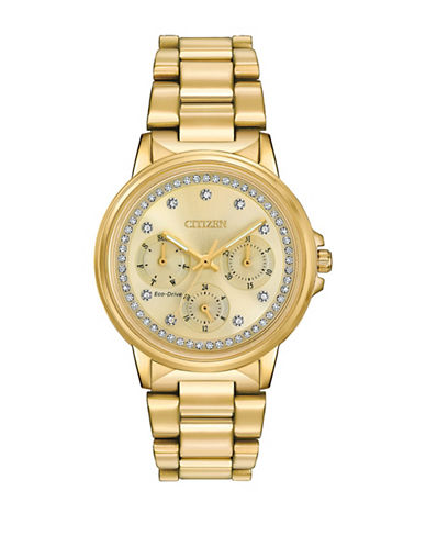 Citizen Silhouette Swarovski Crystal Stainless Steel Link Bracelet Watch-GOLD-One Size