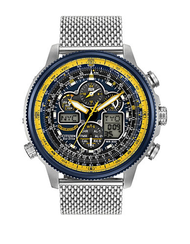 Citizen Chronograph Navihawk A-T Blue Angels Silvertone Bracelet Watch-SILVER-One Size