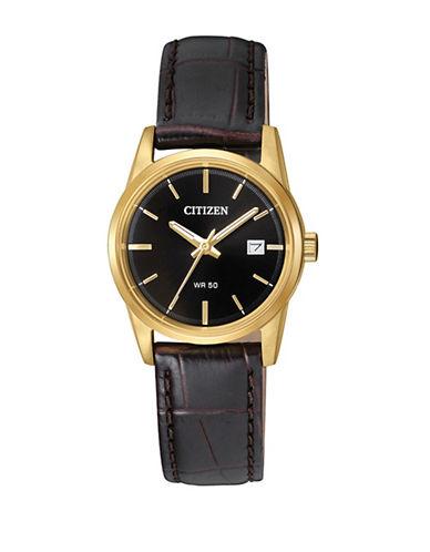 Citizen Quartz Black Leather Strap Goldtone Analog EU6002-01E Watch-BROWN-One Size