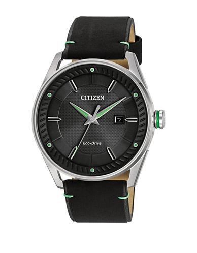 Citizen Drive Quartz CTO Leather Watch-BLACK-One Size