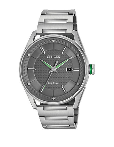 Citizen Drive Check This Out Green Accent Stainless Steel Watch-SILVER-One Size