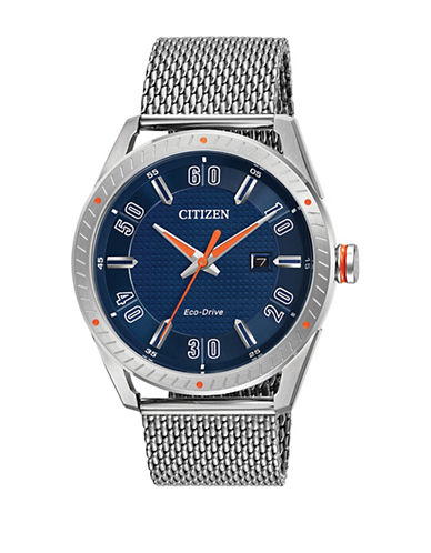 Citizen Drive Check This Out Navy Dial Stainless Steel Watch-SILVER-One Size