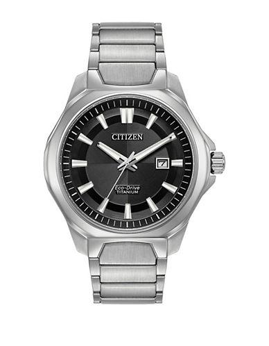 Citizen Chandler Titanium Link Bracelet Watch-SILVER-One Size