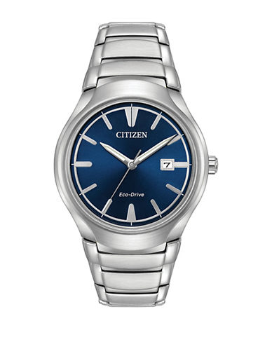 Citizen Analog Eco-Drive Stainless Steel Bracelet Watch-SILVER-One Size