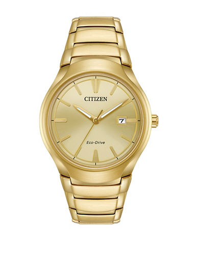 Citizen Analog Eco-Drive Goldtone Bracelet Watch-GOLD-One Size