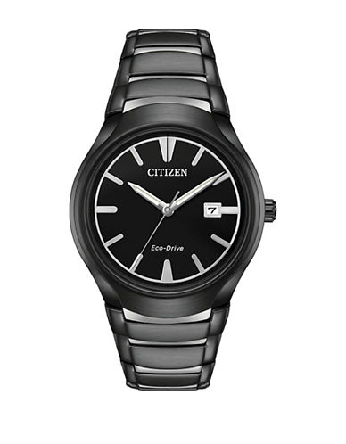 Citizen Analog Eco-Drive Black IP Bracelet Watch-BLACK-One Size