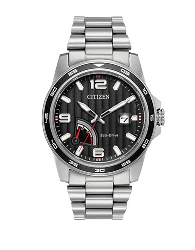 Citizen Eco-Drive Power Reserve Stainless Steel Bracelet Watch-SILVER-One Size