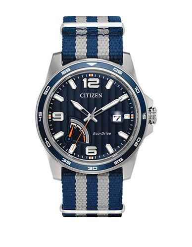Citizen PRT Stainless Steel Nylon Strap Watch-BLUE-One Size