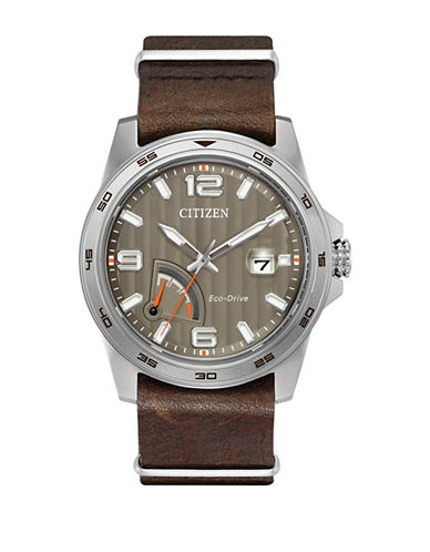 Citizen PRT Stainless Steel Brown Leather Strap Watch-SILVER-One Size