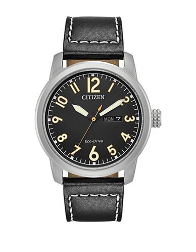 Citizen Analog  Military Collection Stainless Steel Leather Strap Watch-BLACK-One Size
