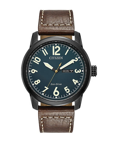 Citizen Analog  Military Collection Black IP Leather Strap Watch-BROWN-One Size