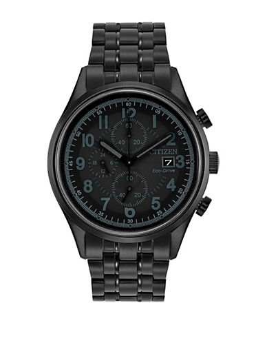 Citizen Chronograph Sport Black IP Bracelet Watch-BLACK-One Size