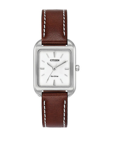 Citizen Chandler Stainless Steel Leather Strap Watch-SILVER-One Size
