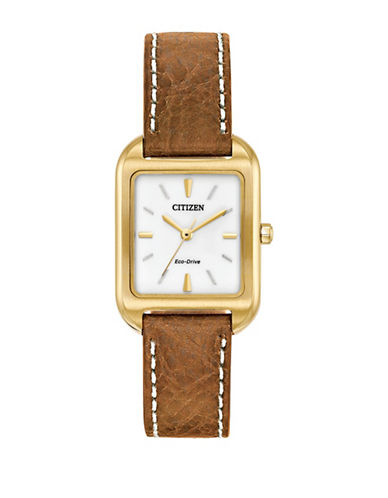 Citizen Chandler Goldtone Stainless Steel Leather Strap Watch-GOLDTONE-One Size