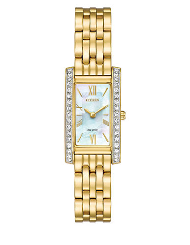 Citizen Silhouette Swarovski Crystal Goldtone Stainless Steel Link Bracelet Watch-GOLD-One Size