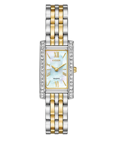 Citizen Silhouette Swarovski Crystal Two-Tone Stainless Steel Link Bracelet Watch-TWO-TONE-One Size