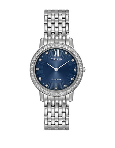 Citizen Silhouette Swarovski Crystal Stainless Steel Link Bracelet Watch-SILVER-One Size