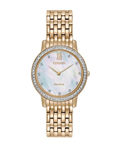 Citizen Eco-Drive Silhouette Crystal Mother-of-Pearl Rose-Goldtone Bracelet Watch-GOLD-One Size