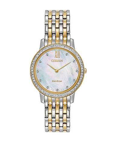 Citizen Eco-Drive Silhouette Crystal Mother-of-Pearl Two-Tone Bracelet Watch-TWO TONE-One Size