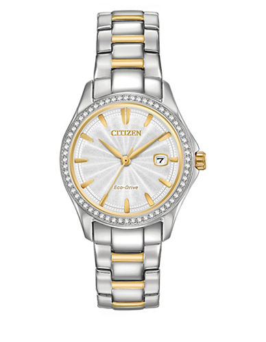Citizen Analog Silhouette Crystal Two-tone Bracelet Watch-TWO TONE-One Size