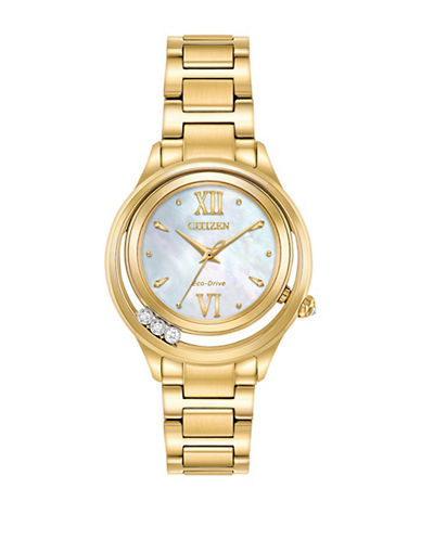 Citizen Sunrise Diamond Goldtone Stainless Steel Link Bracelet Watch-GOLD-One Size
