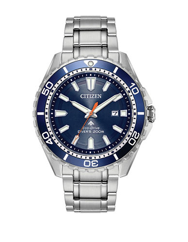 Citizen Analog Blue Dial Diver Stainless Steel Bracelet Watch-SILVER-One Size