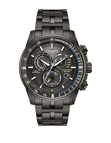Citizen Atomic Timekeeping Perpetual Chrono A-T Charcoal Grey Bracelet Watch-BLACK-One Size