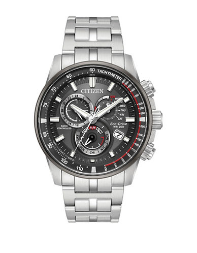 Citizen Chronograph Perpetual Stainless Steel Link Bracelet Watch-SILVER-One Size