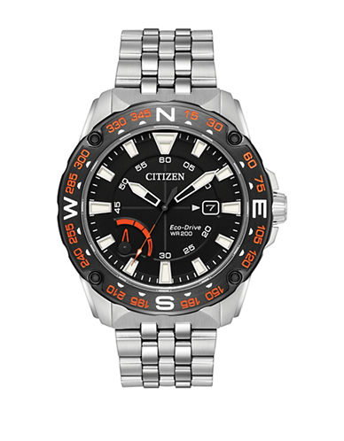Citizen Analog Compass Bezel Stainless Steel Bracelet Watch-SILVER-One Size