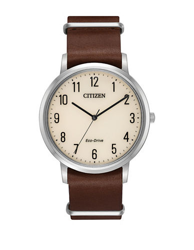 Citizen Chandler Bj6500-12L Mocha Brown Leather Watch-BROWN-One Size