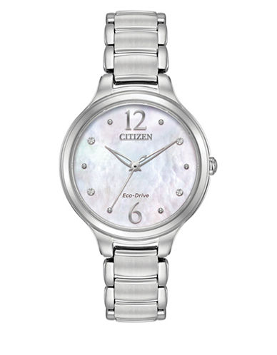 Citizen Eco-Drive Stainless Steel Sapphire Crystal Watch-SILVER-One Size