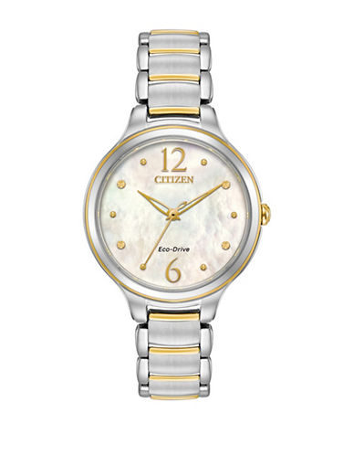Citizen Mother-of-Pearl Two-Tone Stainless Steel Link Bracelet Watch-SILVER-One Size