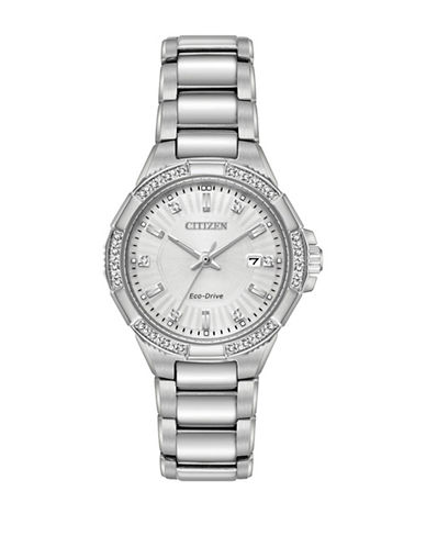 Citizen Riva Collection Diamond Stainless Steel Link Bracelet Watch-SILVER-One Size